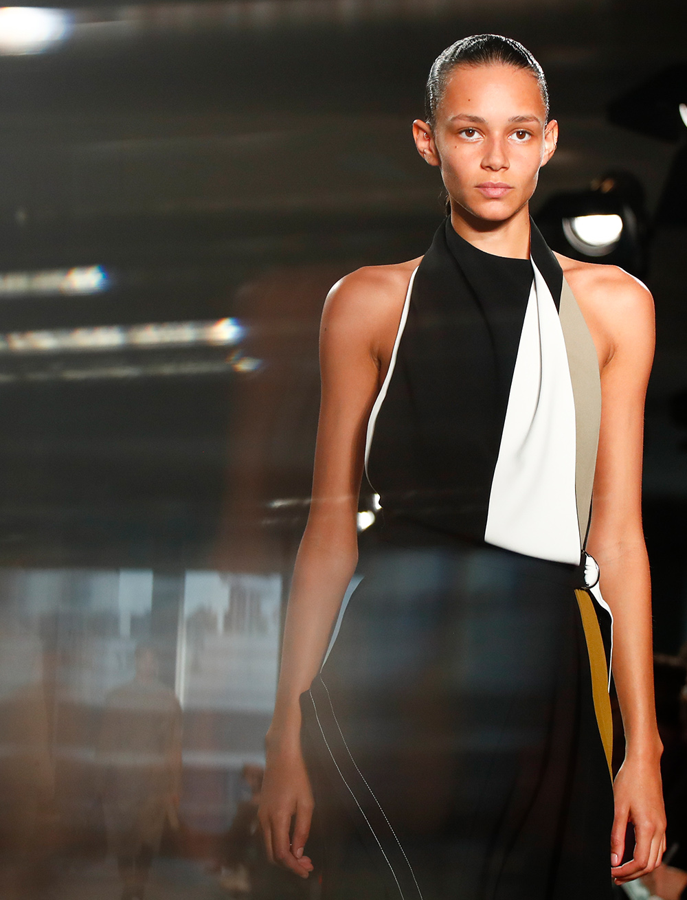 The Fall Runway sleeveless layered draped colorblock dress