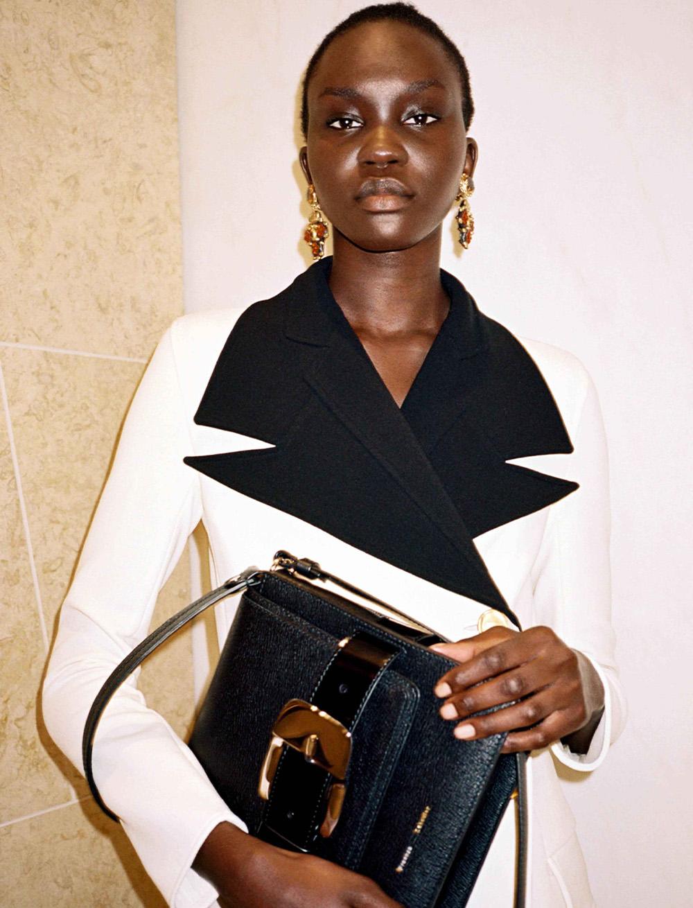 Black Buckle Trapaze Bag